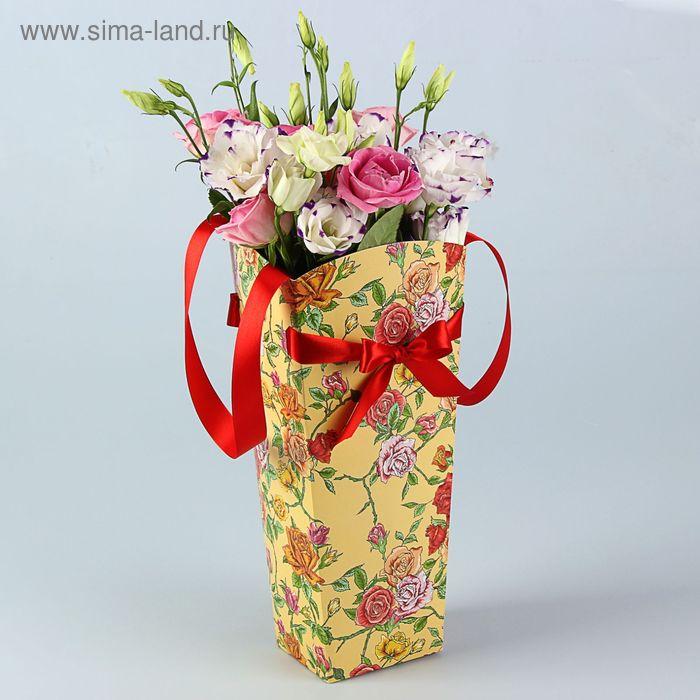 "Пакет для цветов ""Роза плетистая"" серия цветы, 12х10 см"
