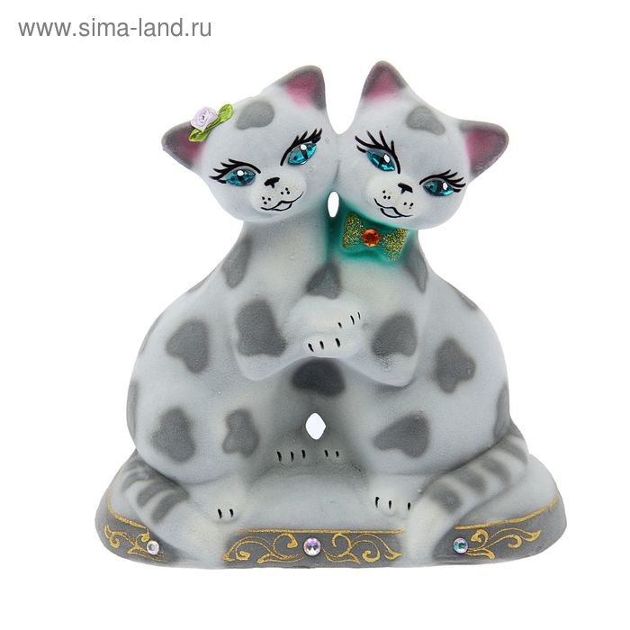"Копилка ""Коты танцующие"" малая, флок, серый леопард"