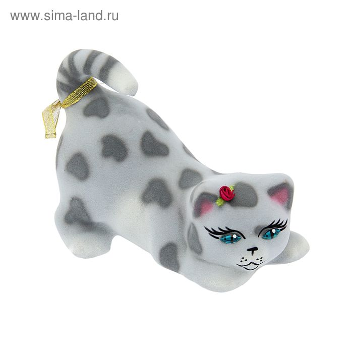 "Копилка ""Мася"" флок, серый леопард"