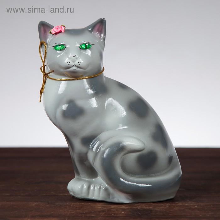 "Копилка ""Кошка Мурка"" глянец, серый леопард"