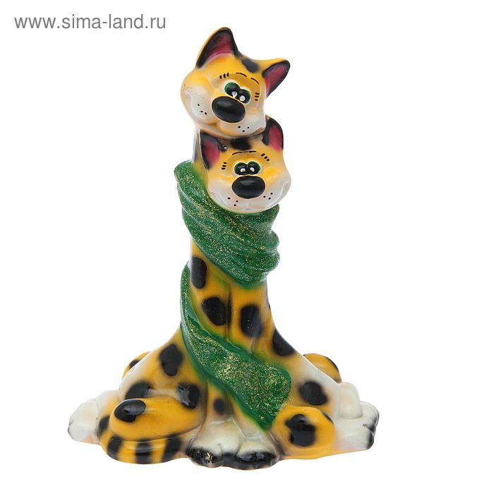 "Копилка ""Коты в шарфе"" глянец, жёлтый леопард"