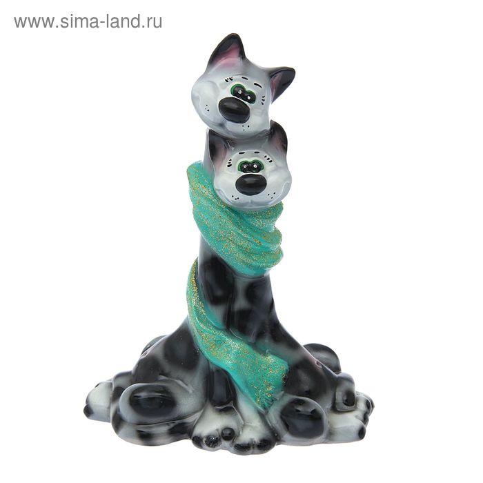 """Копилка """"Коты в шарфе"""" глянец, серый леопард"""