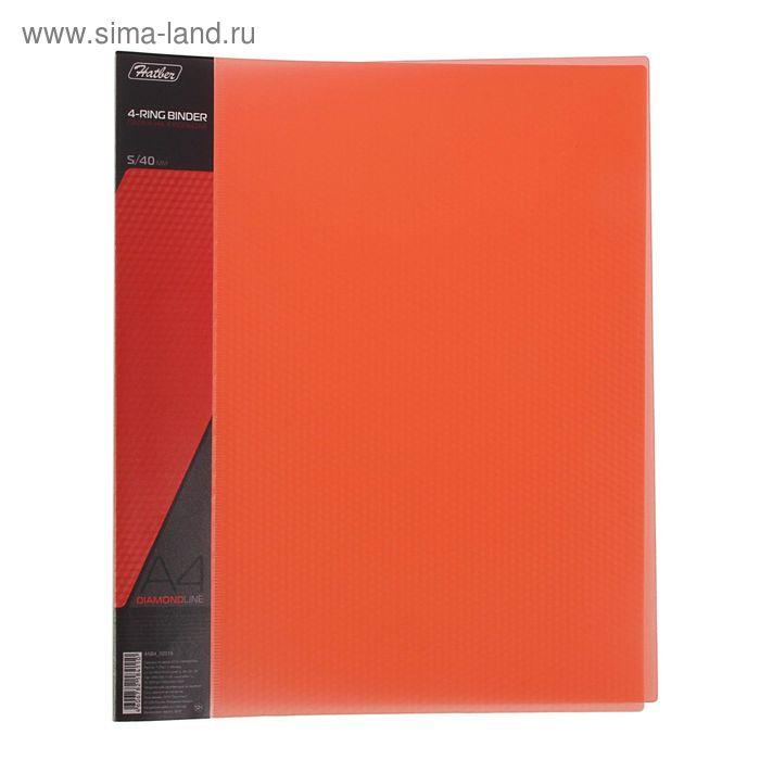Папка на 4 кольцах А4 пластиковая 40мм 700мкм DIAMOND, торцевой карман с бумажной вставкой, полупрозрачная красная