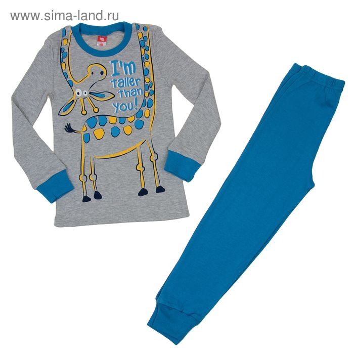 Пижама для мальчика, рост 110 см (60), цвет серый меланж/синий CAK 5270_Д