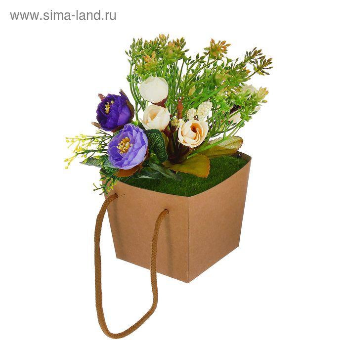 """Цветочная композиция в коробке со шнурком """"Розы"""""""