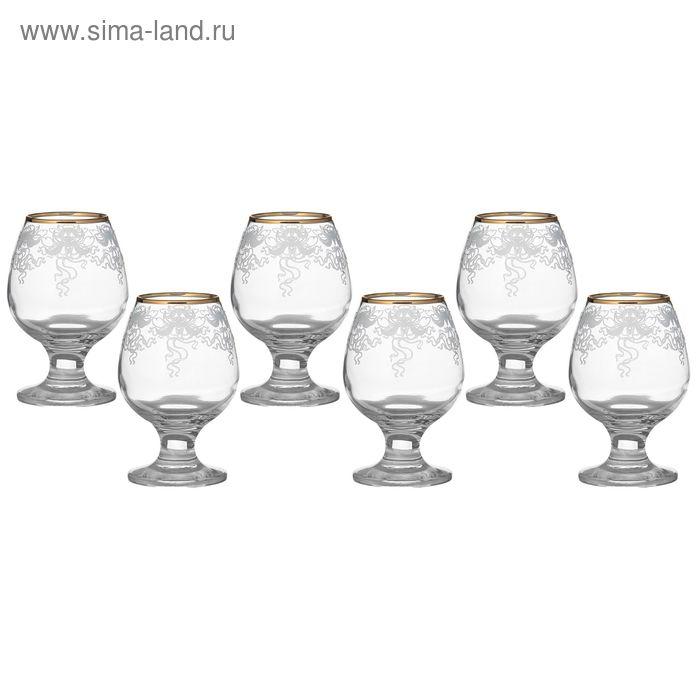 """Набор бокалов для бренди 250 мл """"Лилия"""" 6 шт гравировка, золото"""