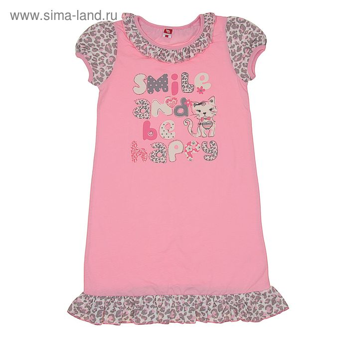 Сорочка ночная для девочки, рост 146 см (76), цвет розовый/серый CAJ 5260_Д