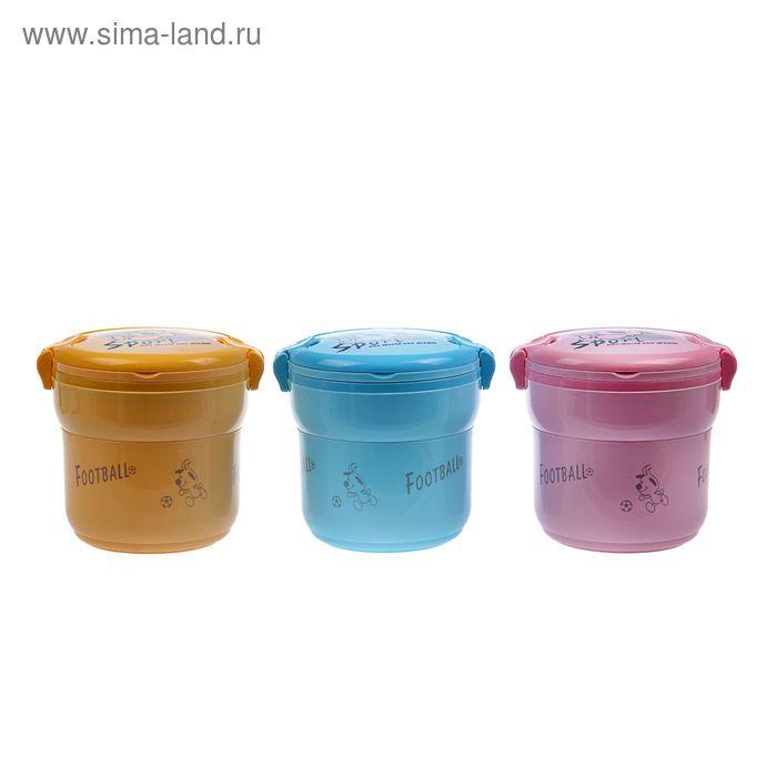 Ланч-бокс 1.6 л, круглый, 1 тарелка (пластик), внутри металл, микс, 17х19 см