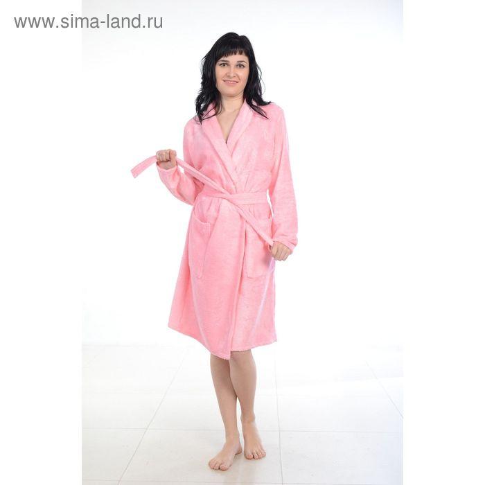 Халат махровый бамбук, размер 48, цвет розовый ХМБ0105
