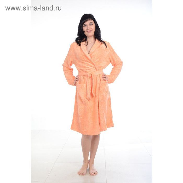 Халат махровый бамбук, размер 48, цвет персиковый ХМБ0107
