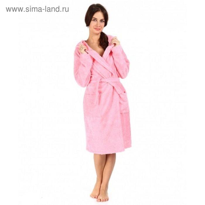 Халат махровый с капюшоном, размер 50, цвет розовый ХМБ0205