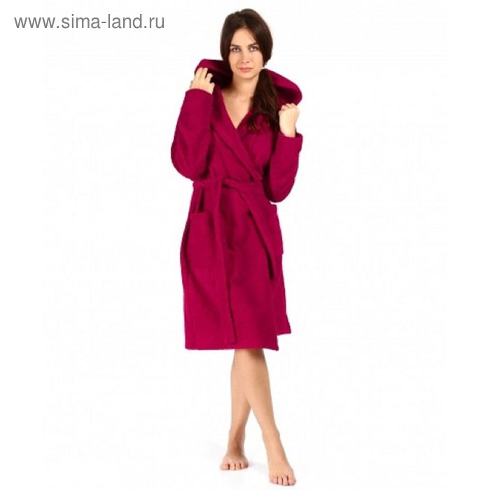 Халат махровый с капюшоном, размер 48, цвет бордо ХМХ0222