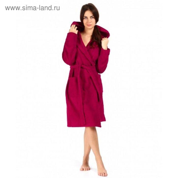 Халат махровый с капюшоном, размер 50, цвет бордо ХМХ0222
