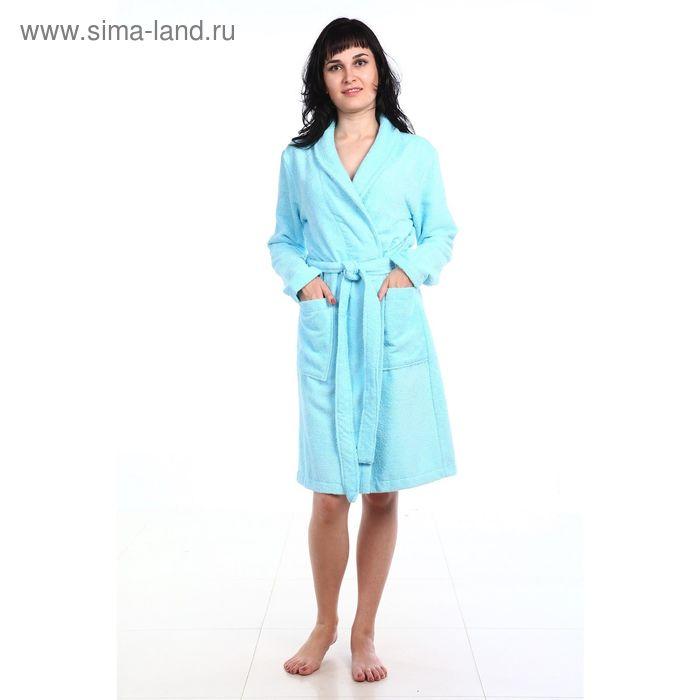 Халат махровый с запахом, размер 50, цвет морская волна ХМХ0109