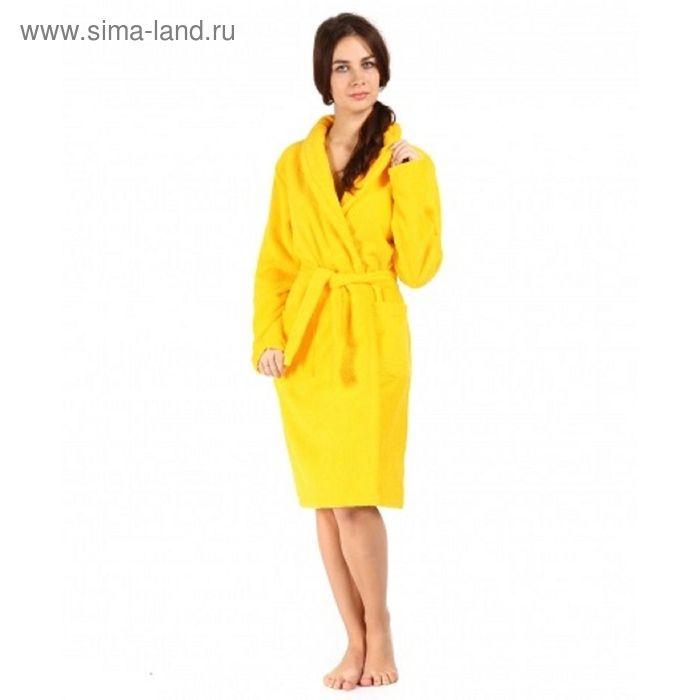 Халат махровый с запахом, размер 46, цвет жёлтый ХМХ0112