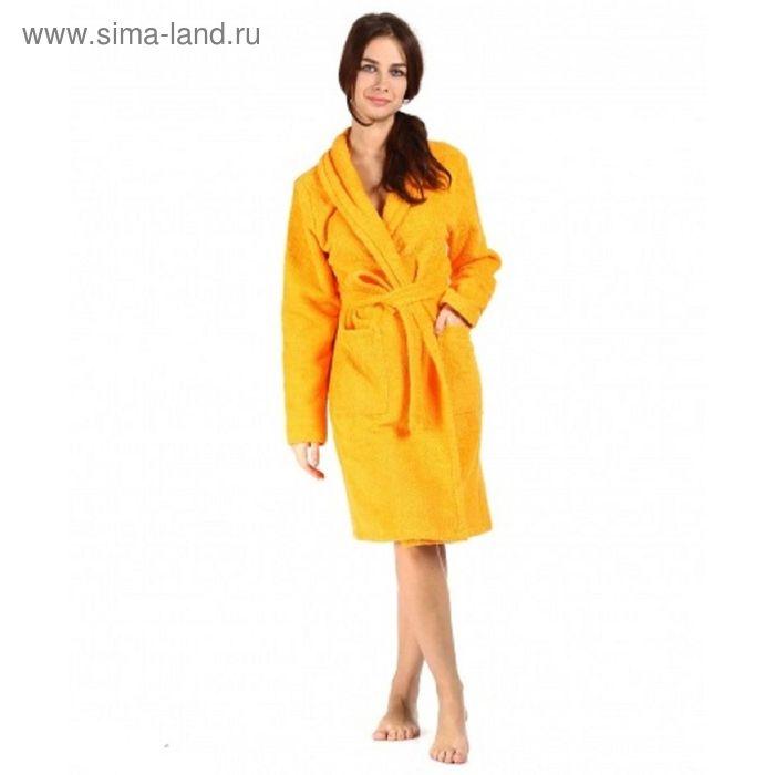 Халат махровый с запахом, размер 44, цвет оранжевый ХМХ0113