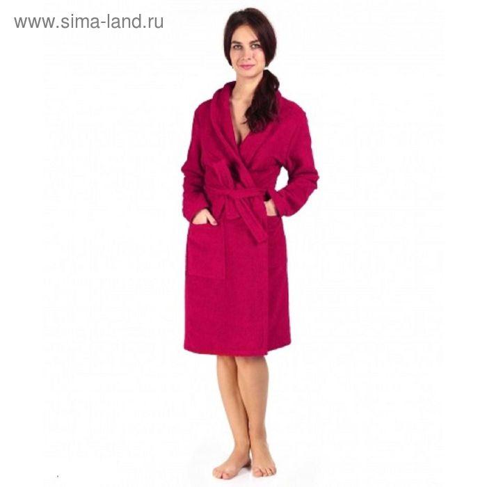 Халат махровый с запахом, размер 50, цвет бордо ХМХ0122