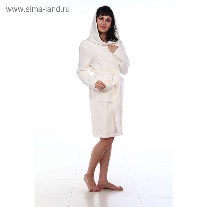 Халат махровый с капюшоном, размер 48, цвет белый ХМХ0201