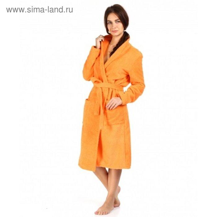 Халат махровый удлиненный, размер 44, цвет оранжевый ХМХ0313