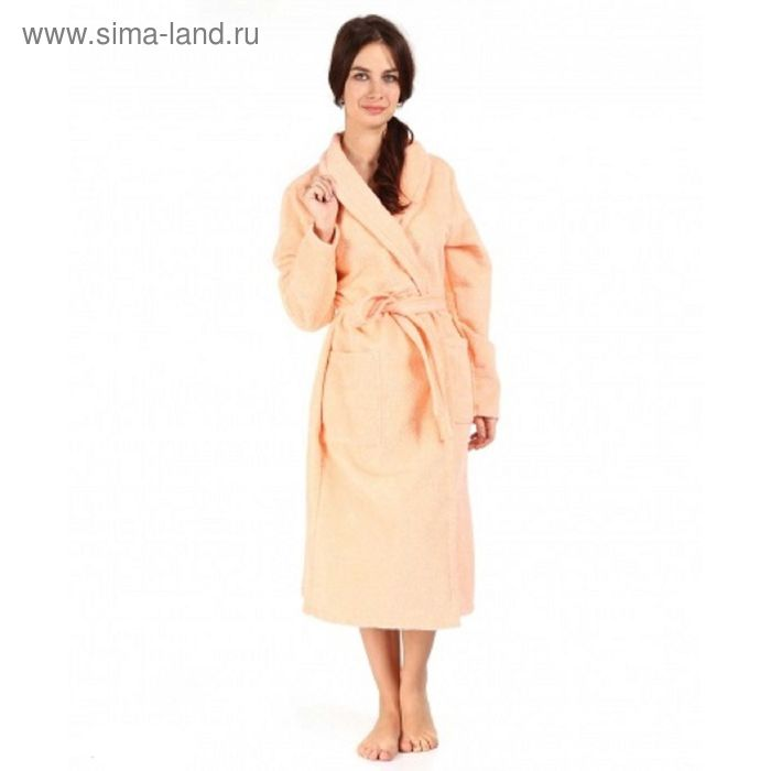 Халат махровый удлиненный, размер 48, цвет персиковый ХМХ0307