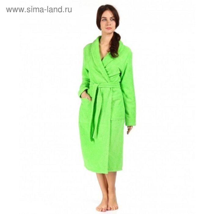 Халат махровый удлиненный, размер 52, цвет зелёный ХМХ0316