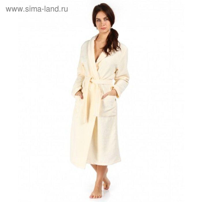 Халат махровый удлиненный, размер 44, цвет кремовый ХМБ0302