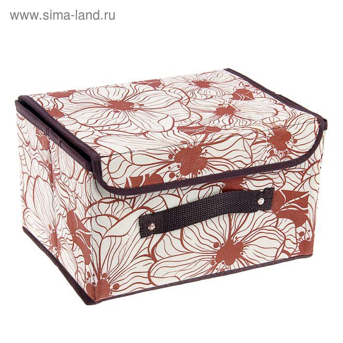 """Короб для хранения с крышкой, 26х20х16 см """"Флер"""", цвет коричневый"""