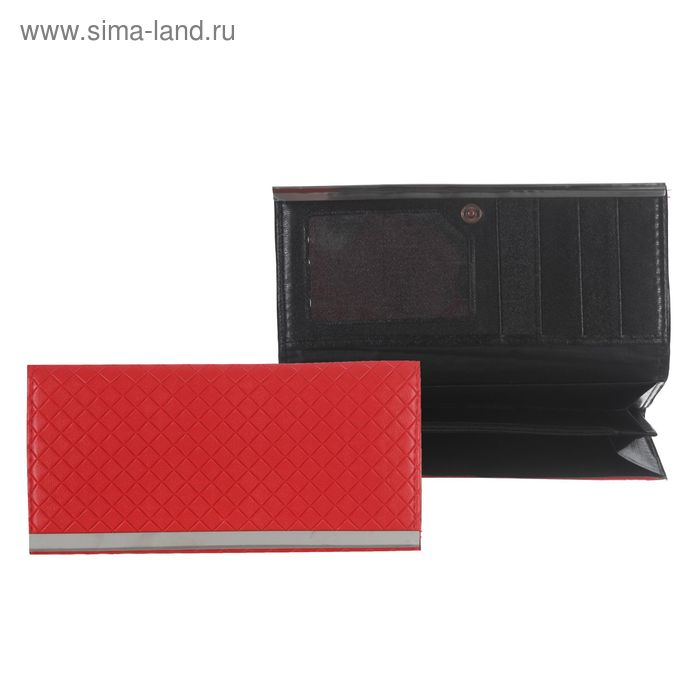 Кошелёк женский на клапане, 4 отдела, отдел для карт, красный