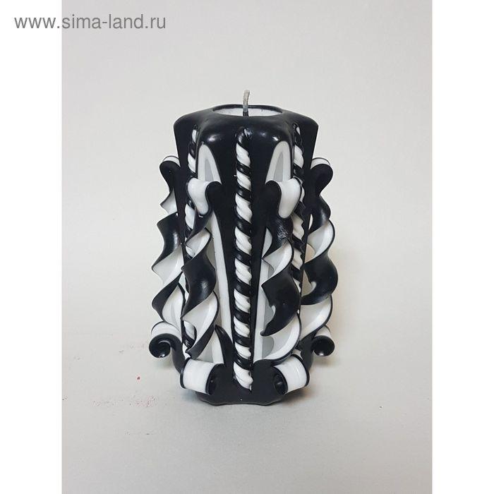 """Свеча резная 10-11см  """"Витая"""" ,черно-белая"""