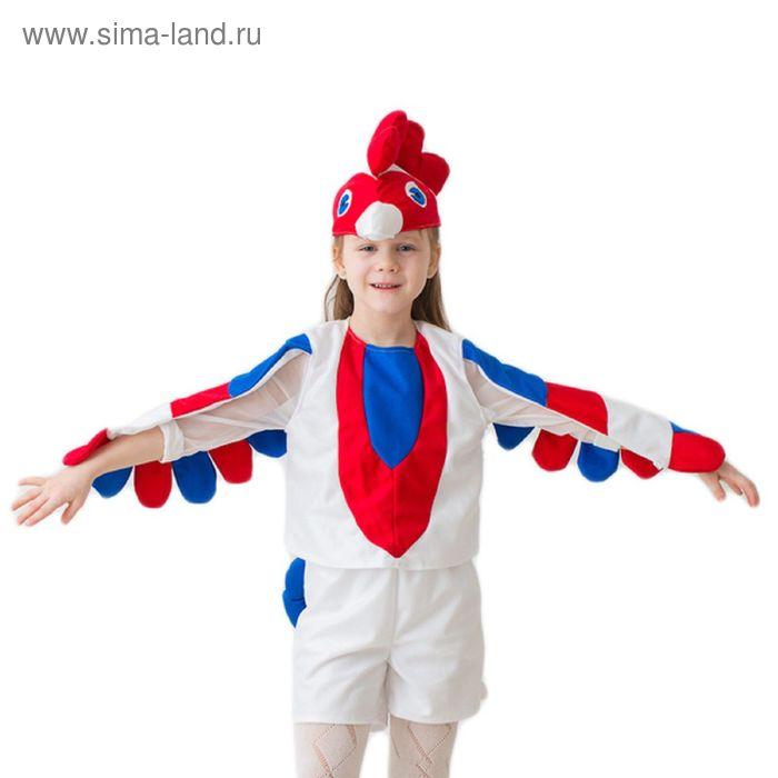 """Карнавальный костюм """"Петушок"""", шапка, безрукавка с крыльями, шорты с хвостом, 3-5 лет, рост 104-116 см, цвет белый"""