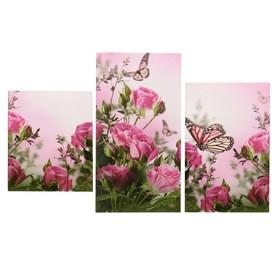 """Модульная картина на подрамнике """"Бабочки в розах"""", 29×35 см, 29×44,5 см, 29×55 см, 90×56 см"""