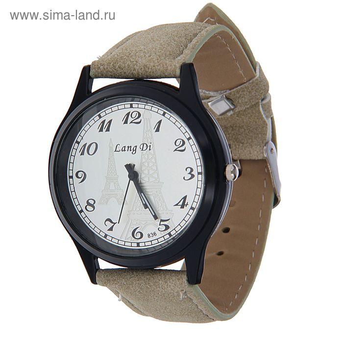 Часы наручные Lang Di, Эйфелева башня, ремешок иск замша серый
