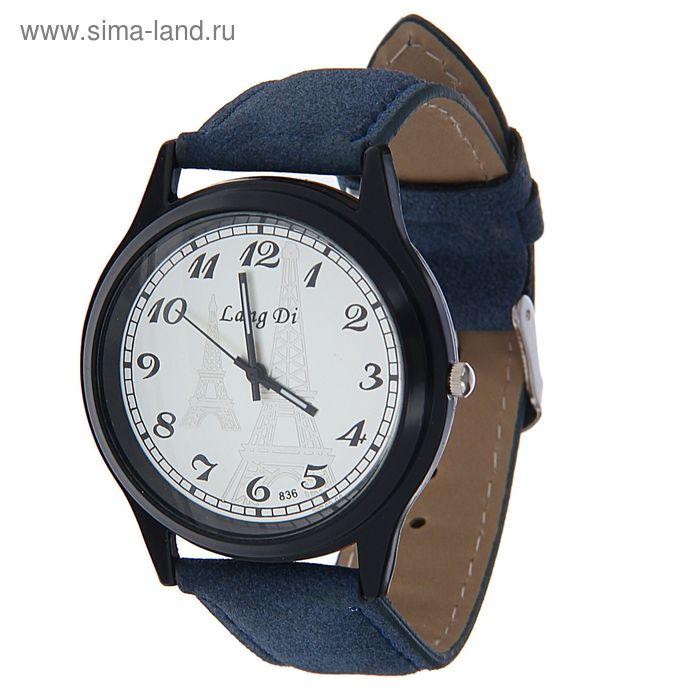 Часы наручные Lang Di, Эйфелева башня, ремешок иск замша синий