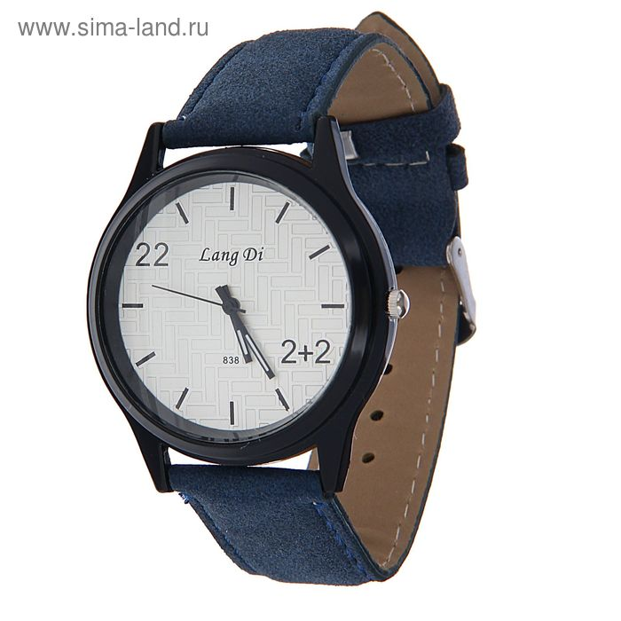 Часы наручные Lang Di, цифра 22  ремешок иск замша синий
