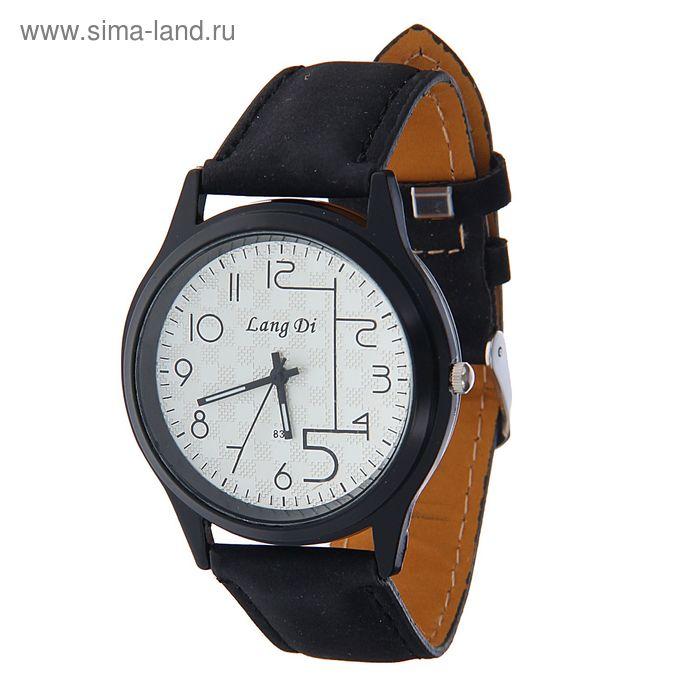 Часы наручные Lang Di,  большая цифра 5  ремешок иск замша черный