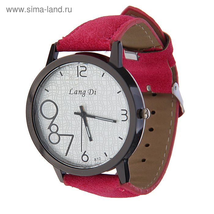 Часы наручные Lang Di,  цифры выделены 789  ремешок иск замша тем. розовый