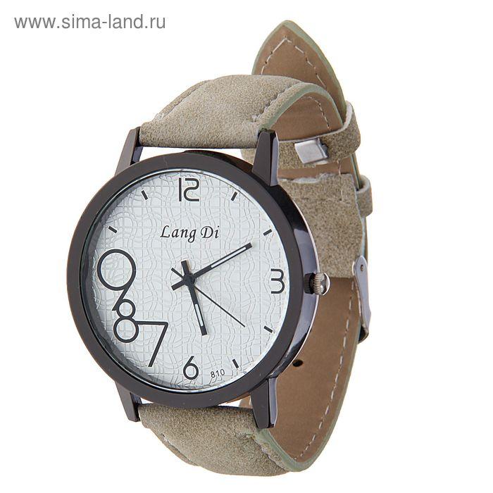 Часы наручные Lang Di,  цифры выделены 789  ремешок иск замша серый