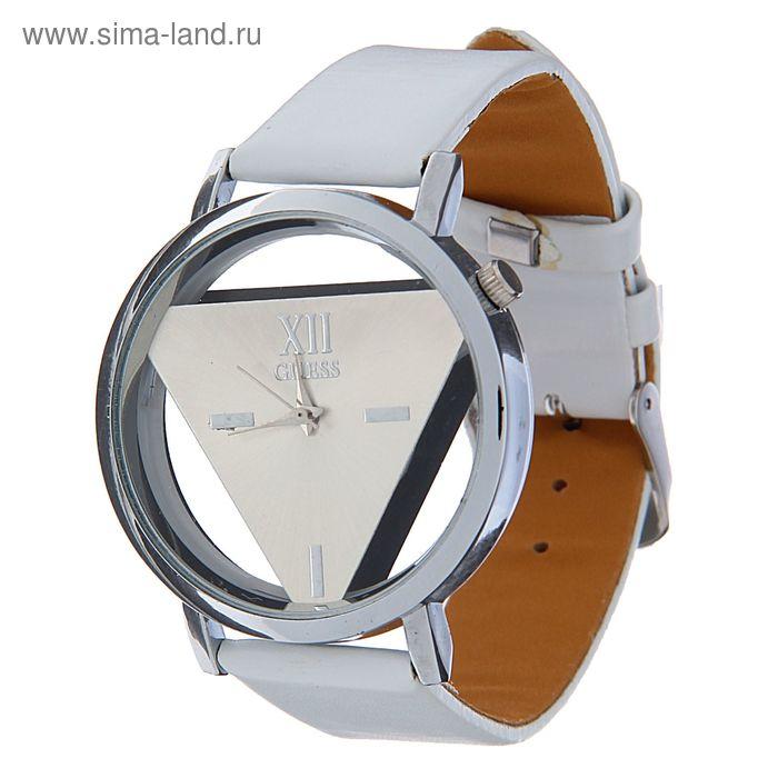 Часы наручные женские прозрачный корпус,белый циферблат ремешок бел