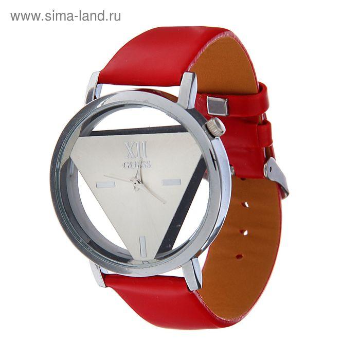 Часы наручные женские прозрачный корпус,белый циферблат ремешок красный