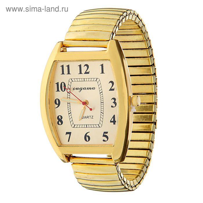 Часы наручные мужские вытянутой формы на браслете резинке желт корпус, желт циферблат