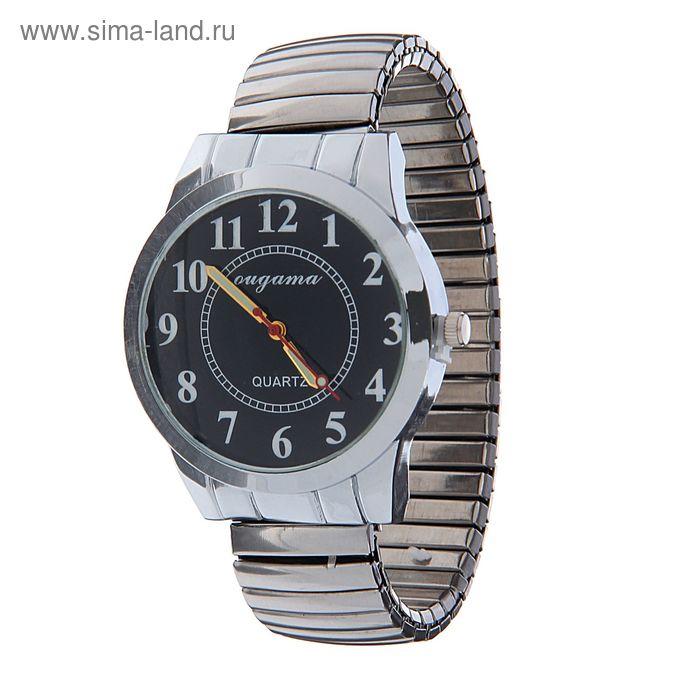 Часы наручные мужские  на браслете резинке белый корпус, черный циферблат