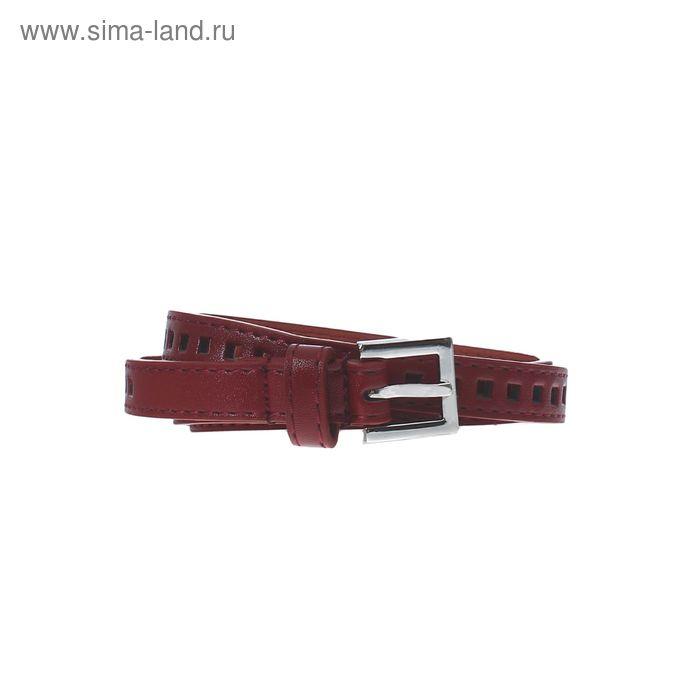 """Ремень женский """"Квадраты"""", пряжка под металл, ширина - 1,5см, бордовый"""