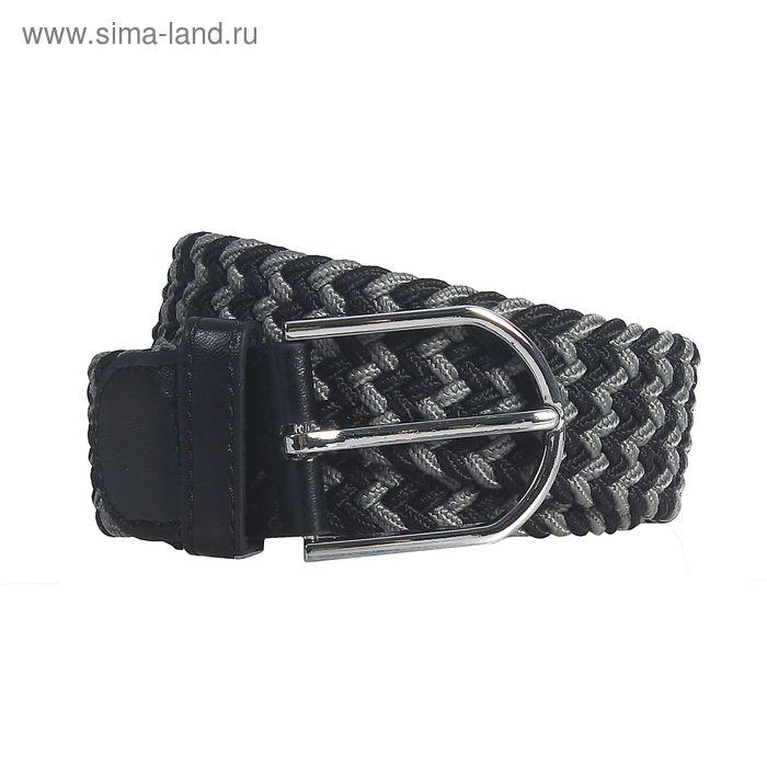 """Ремень женский """"Плетёнка"""", пряжка под металл, ширина - 3,5см, серый/чёрный"""