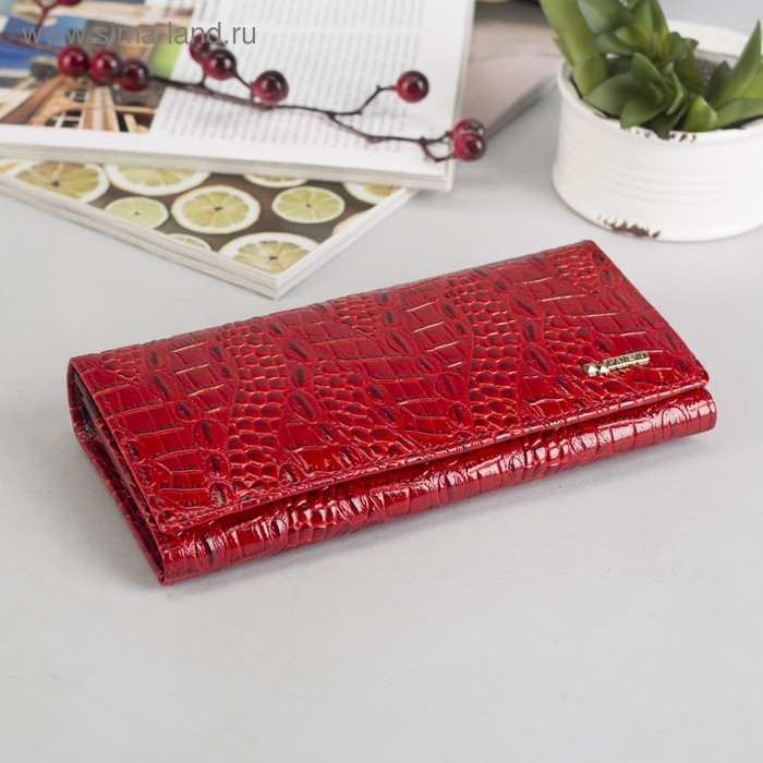 Кошелёк женский на клапане, 6 отделов, отдел для карт, 1 наружный карман, красный