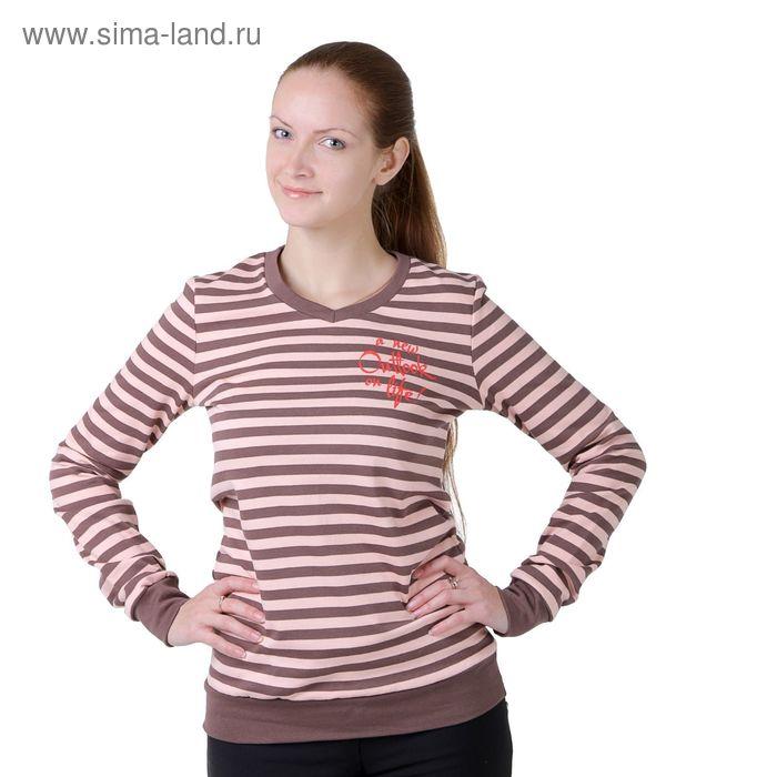Джемпер женский Р827212 розовый/полоса, рост 170-176 см, р-р 52