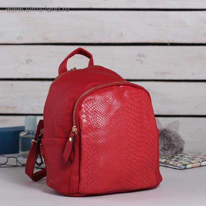"""Рюкзак молодёжный на молнии """"Карен"""", 1 отдел, 1 наружный и 2 боковых кармана, красный"""