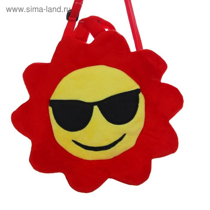 """Мягкая сумочка """"Смайлик в очках"""" красная окантовка"""