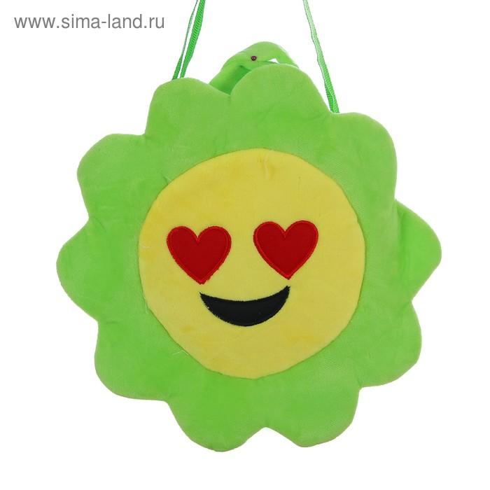 """Мягкая сумочка """"Смайлик с сердечками"""" зеленая окантовка"""