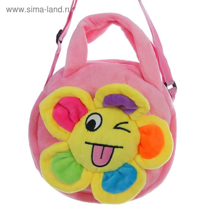 """Мягкая сумочка """"Цветочек"""" подмигивает, розовая основа"""