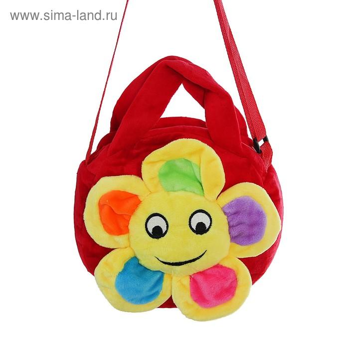 """Мягкая сумочка """"Цветочек"""" улыбается, красная основа"""